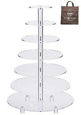 4 5 6 7 Tier Crystal Clear Acrylic Round  Cupcake Stand Wedding Birthday Display