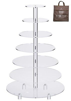 Large 4 5 6 7 8 Tier  Acrylic Glass Round Cupcake Stand Tower/ Cake Stand