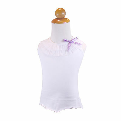 Summer Girls Toddler Cotton Tank Top Baby T Shirt Sz 3M-6Y White with lace bow