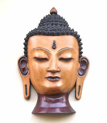 "15"" Vtg Buddha Head Wall MASK art deco Hindu Buddha Tibet wall Hanging Mask"