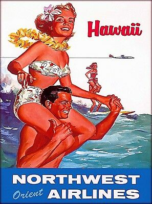 Hawaii Surf Surfing Hawaiian Vintage United States Travel Advertisement Poster