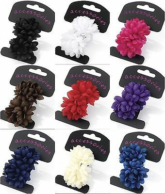 Pack 2 Mini Flower Bobble Ponio Ponytail Band Girl Hair Accessory School Party