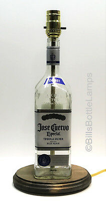JOSE CUERVO ESPECIAL SILVER Tequila Liquor Bottle TABLE LAMP Light w/ Wood Base