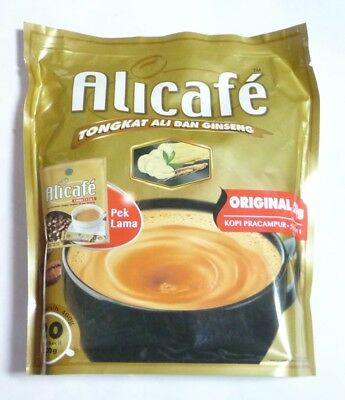 ALICAFE Premix Coffee Drink TONGKAT ALI GINSENG Instant 5 in 1 Pack 20 Sachets