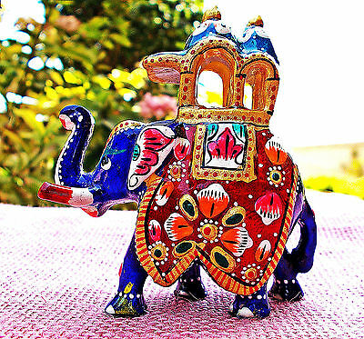 Beautiful lucky trunk up elephant figurine king ride handicraft INDIA decorative
