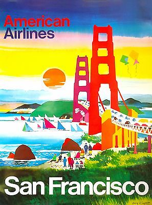 San Francisco Gold California United States America Travel Advertisement Poster