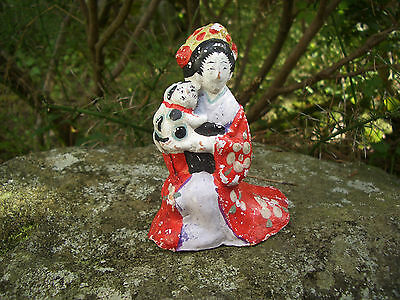 Japan antique clay doll a woman wore beautiful kimono with cat #9133