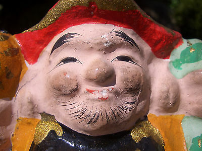 Japanese antique clay doll The 7 Deities of Good Fortune  Mahakala 大黒天 #8237