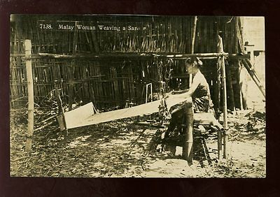 MALAYA Malay native Woman weaving a sarong RP PPC c1920s??