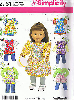 """SIMPLICITY 18"""" DOLL CLOTHES & APRONS SEWING PATTERN 2761 NEW U/C"""