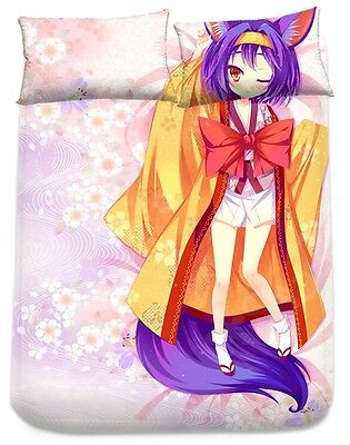 New Anime NO GAME NO LIFE Life-sized  FITTED SHEET + 2PCS Pillow case