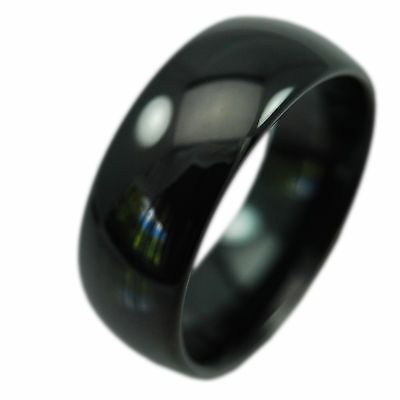 Pure Black Solid Tungsten Carbide 8mm Polished Men's Ring Wedding Band All Sizes