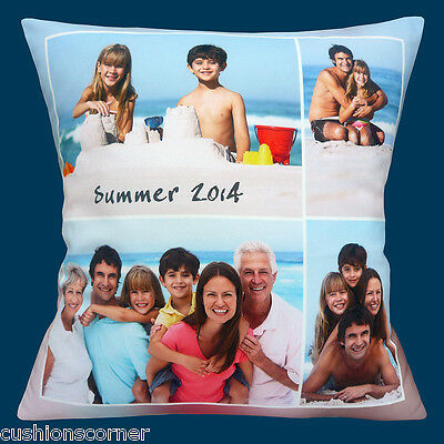 "ADD YOUR OWN PHOTOS Memories Holiday Birthday Message - 16"" Pillow Cushion Cover"