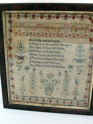 Antique Sampler by Mira Owens Age 14 dated 1847