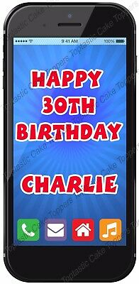 Personalised Smartphone Mobile Phone Edible Icing Birthday Party Cake Topper