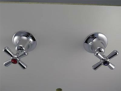 Ramtaps Wall Stops, taps with easy clean handles, bright chrome brass bathroom