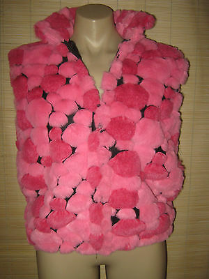 "Preloved RETRO Hippy Trendy ""Made in CANADA"" PINK FLUFFY Vest size 12-14"