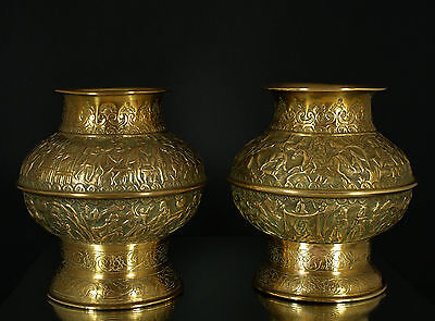 A Pair of Antique Islamic Brass Vases, Fine Figurative Decoration.