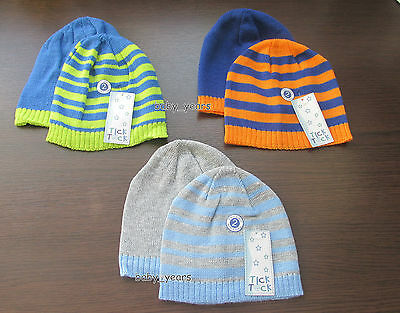 Baby Boys Beanie Knitted Hats Blue Grey Orange Green Striped Winter Warm Pack 2