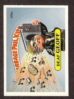 "1986 Topps Garbage Pail Kids 5th Series 5 ""DEAF GEOFF"" Sticker Card #206a"