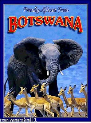 Botswana Elephant Antelope Africa African Pride Travel Art Poster Advertisement