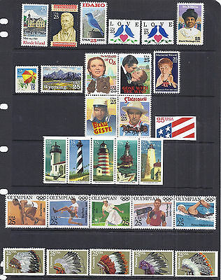 US 1990 Commemorative Year Set w/ Airmail & Booklet Stamps - MNH Fresh