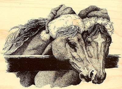 Christmas Santa Horses Wood Mounted Rubber Stamp Impression Obsession NEW