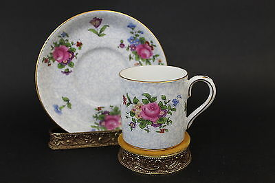Vintage Signed Crown Staffordshire Porcelain China Tea Cup & Saucer Set