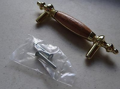 Lot of 5 NEW Amerock Allison Series Pull, Polished Brass, Wood Inset, 3in C-C