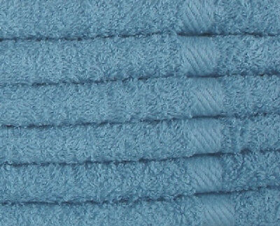 24 New Classic Blue Washcloths 12''x12'' 100% Cotton Ringspun Soft Absorbent
