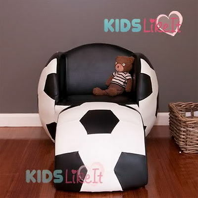 KIDS TODDLERS Faux LEATHER BLACK WHITE Soccer BALL SOFA BOY CHAIR w/ FOOTSTOOL