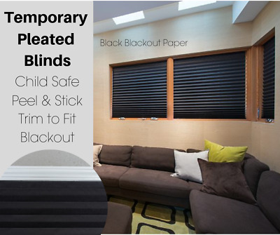 Black Blackout Pleated Temporary Blinds Quick & Easy FIt Blind Multi Buy Savings