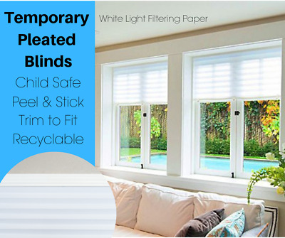 Cord Free Child Safe Temporary Privacy Pleated White Blinds Cheap & Easy Fit