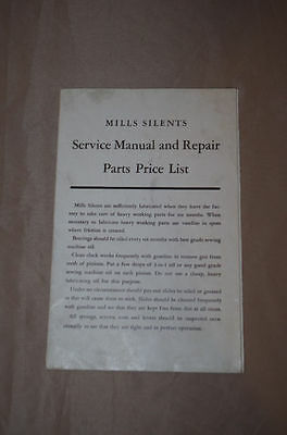 Mills Silents Slots Service Manual and Repair Parts Price List