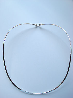 TAXCO MEXICO STERLING SILVER 925 CHOKER COLLAR NECKLACE 2 mm HAMMERED HOOK