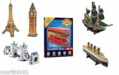 3D Puzzle Puzzles Iconic Landmark Small Build Educational Big Ben London Bus 8+