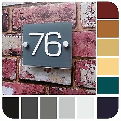 Modern House Sign Door Number Apartment Plaque Business Plate Glass Effect Small
