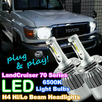 Plug-and-Play H4 LED Headlight Bulbs to suit Toyota Landcruiser 79 Series 4WD