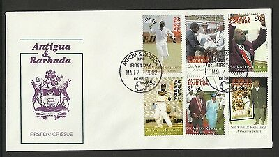 ANTIGUA BARBUDA 2002 SIR VIVIAN RICHARDS CRICKET 6v FDC