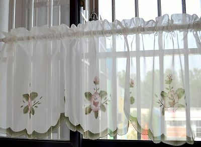 Lovely Purple Flower Embroidery Scallop Border White Sheer Cafe Curtain Trim