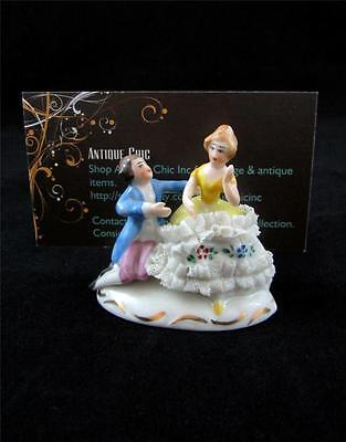 Rare Vintage Dresden Lace Figural Couple Place Card Holder Germany #149 a