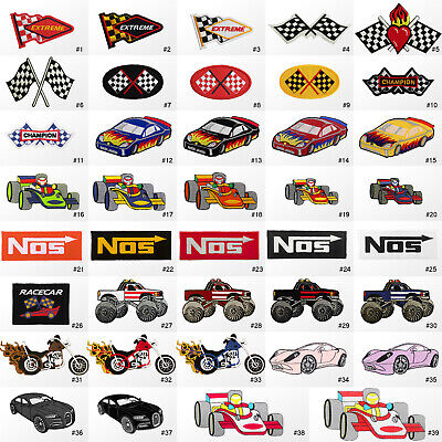 #1503R Motorsports Flag Racing Car Biker Embroidered Sew / Iron on Patch Badge
