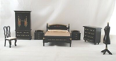 BEDROOM SET JAPANESE Black Lacquer dollhouse furniture 1/12 scale T0121 8pc