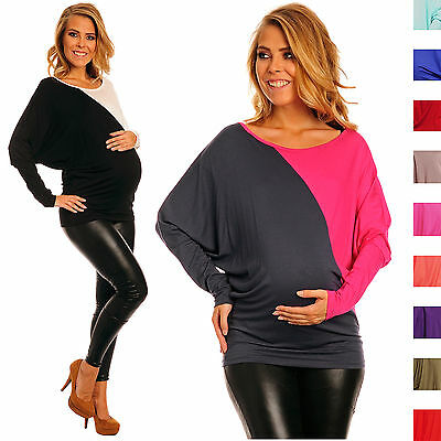 Happy Mama Women's Maternity Stretch Jersey Jumper Batwing Top Colour Block 104p