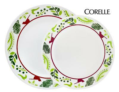 Corelle BIRDS & BOUGHS Choose: DINNER or LUNCH PLATE *CHRISTMAS Peace Red Green