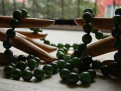 antique 28 inch necklace JADEITE / jade DEEP GREEN translucent w/14k RE-STRUNG!