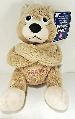"CRANKY - Bear beanbag plush - 6"" tall by RUSS - crossed arms pouty"