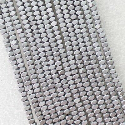 W4178 Excellent Faceted Silver Hematite loose bead 15.5 inch