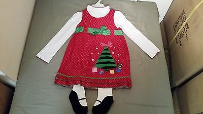 NWT Toddler Girls 3Pc Christmas Tree Holiday Dress Set Outfit