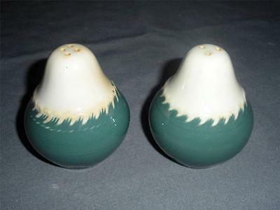 HARKER WARE POTTERY CHINA CHESTERTON GREEN SALT PEPPER SHAKERS VINTAGE